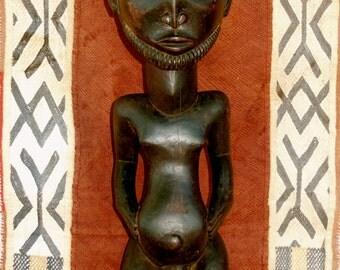 "Large Hemba Luba Memorial Ancestor Statue DRC Congo/Zaire African 26"""