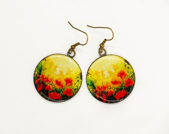 Gift-for-women gift-for-girlfriend gift-for-her Birthday gifts-for-sister Red earrings Flower earrings Statement earrings Fashion jewelry