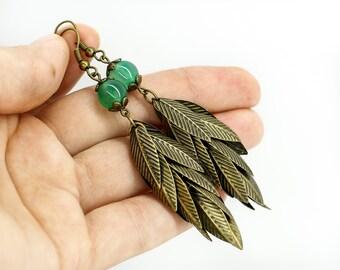 Gift for her Long earrings Tassel earrings Dangle earrings Gemstone earrings Leaf earrings Cluster earrings Green earrings Ethnic earrings
