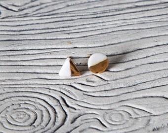 Geometric gold & white porcelain stud earrings