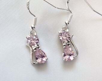 Cat Earrings - Crystal Cat Earrings - Pink Crystal Cat Earrings -