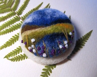 Wool felt brooch Gift for women Gift for her Felted landscapes Modern jewelry Fiber Arts Mothers day gift  Blue pin  Inspirational brooch
