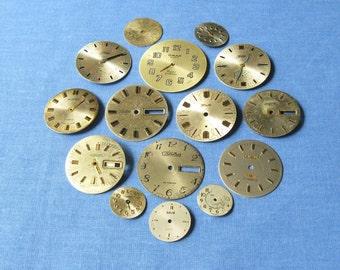 15 pcs Vintage Watch Faces, Altered Art Gear, Classic Watch Faces, Old Watch Faces, Soviet Watch Faces