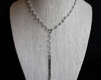 Oxidized Y Necklace