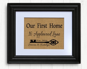 First Home, Personalized Family Name Sign, Burlap Housewarming Print,Burlap First Home Gift,New Home, Custom Sign, House Warming Gift