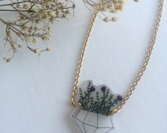 Pink Flower Planter Necklace - Plant - Riley Grae Designs - Upcycled -Repurposed - Recycled - Jewelry and Accessories