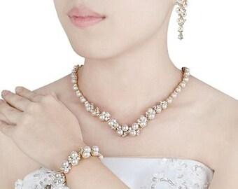 Bridal Gold Pearl Jewelry Set - Wedding Gold Jewelry Set- Ivory Pearl Jewelry Set - Bride Necklace Earring Bracelet Set -Bride Pearl Jewelry