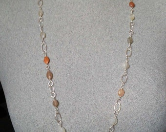 Moonstone necklace, long silver necklace, silver and multi-coloured moonstone necklace, long silver chain