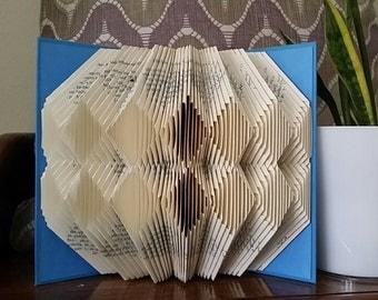 Folded book art, double diamond design, recycled book sculpture