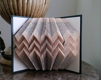 Folded book art, chevron design, recycled book sculpture
