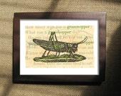Grasshopper Print 5 x 7, Vintage Grasshopper Woodcut, Insect Art Print, Small Prints