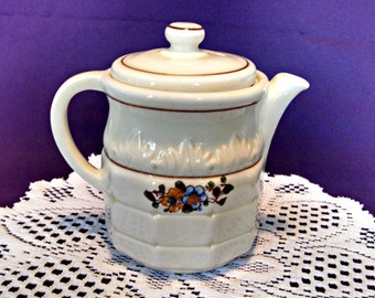Vintage Art Deco Teapot by Porcelier, Floral and Flame, Ten Sided, Holds 2.5 Cups, 20 Ounces, Circa 1930s