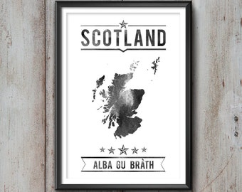 Scotland Typography Print, Scotland Poster, Scotland Wall Art, Scotland Gift, Scotland Decor, Scotland Print, Scotland Map, Scottish Decor