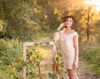 Women's Dress - Women's Summer Outfit -  Blush Cotton Dress