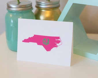 Carolina State Monogram Notecard Set - Carolina Girl - Personalized Notecard - Monogram Notecard - Monogram Stationery -