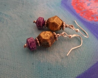 Purple Tie Dye Brass Earrings