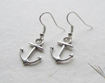 Anchor earrings, nautical earrings, anchor jewelry