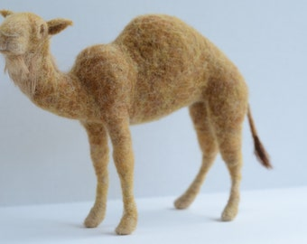 Needle Felted Camel, Camel Sculpture, READY TO SHIP, Camel Art, Needle Felted Animal, Gift