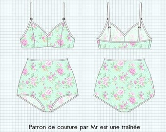 "Sewing pattern lingerie PDF, ""Jayne"", pants high waist and BRA, XS to XL"