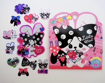 71 Japanese big bow bunnies SCENTED shimmer sticker flakes - kawaii black & white bunny rabbits with hair bows - love hearts - emoticons