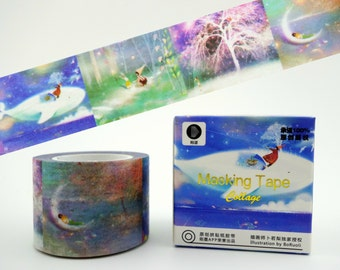 Beautiful WIDE Whimsical fairy world 10m Chinese washi tape in box - crescent moon - whales - bunny rabbits - nature deco masking paper tape