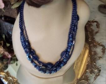 Five strand blue lapiz designer necklace