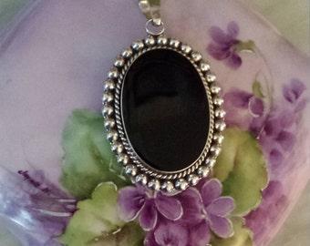 Vintage black onyx pendant