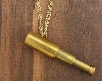 Gold Adjustable Telescope Necklace
