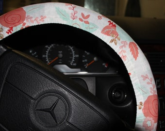 Floral Steering wheel cover - Mint and Coral Floral wheel cover -Hostess gift idea - Soft and Neutral colors .
