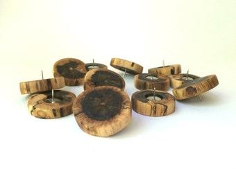 Wood Thumbtacks Oak - Push Pins - Set of 12 - Handmade