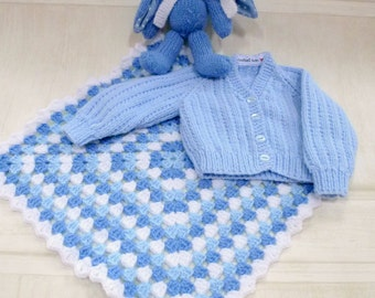 Hand knitted baby gift set. Cardigan, bunny & lovey. Suitable from birth