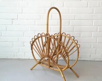 Vintage magazine rack, 50 years, basket, rattan, magazine rack