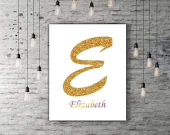 Personalized Letter Monogram Decor Gold Glitter Letter Print, Custom Letter Art, Customizable Print Poster, Glitter Name On Your Wall