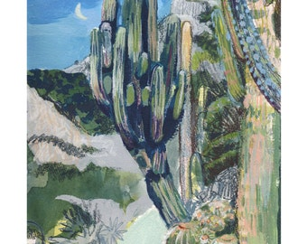 "Cacti by Night 8 x 10"" Giclee Print"