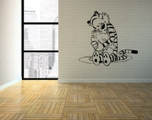 Calvin & Hobbes The Hug Interior Wall Art / Vinyl Decal. Perfect for any bedroom, living room, dorm, man cave in the house!