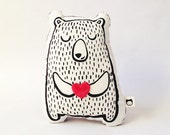 Screen Printed Teddy Bear Pillow with Appliqué Heart Valentines Day