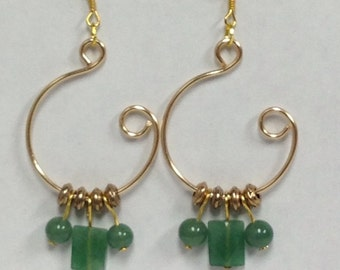 Green Aventurine Gemstonr Silver Open Hoop Earrings