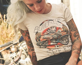 Built for speed Tshirt in Heather Beige size S,M,L,XL,2XL,3XL design by Howlin' Wolf Tattoo