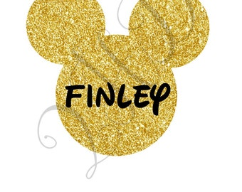 Mickey or Minnie Gold Sparkle Name Personalized Iron On - Digital Download - You Print