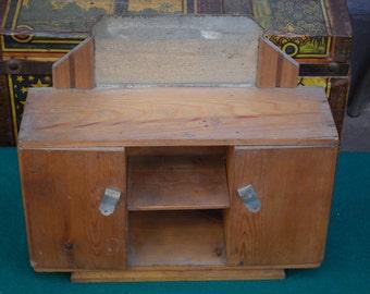 Antique European handmade wooden doll house furniture, buffet sideboard / chiffonier.