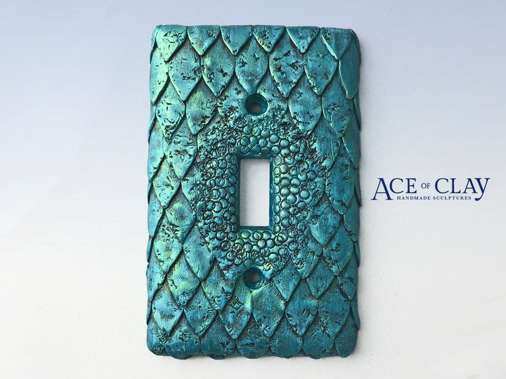mermaid fish scale light switch cover sculpey unique wall. Black Bedroom Furniture Sets. Home Design Ideas