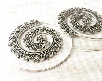 Silver Tone Spiral Earrings, Boho Earrings, Tribal Earrings, Hoop Earrings, Gold Earrings, Gipsy Earrings, Tribal Belly Dance Jewellery.