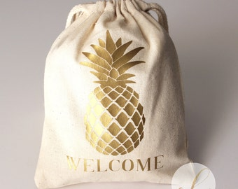 "5""x6"" or 8""x10"" Gold Pineapple Favor Bag //Pineapple Welcome Favor Bag // Party Favor Bag // Wedding Welcome Gifts"