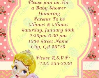 Sleeping Beauty baby shower invitations