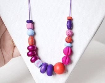 Polymer clay necklace Beaded necklace pink necklace minimal jewelry Statement necklace geometric necklace Purple necklace Minimal necklace