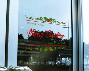 Merry Christmas & A Happy New Year Window Cling Decal