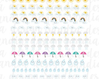 Printable Weather Stickers, Planner Stickers, perfect for EC Planner and other Planners.