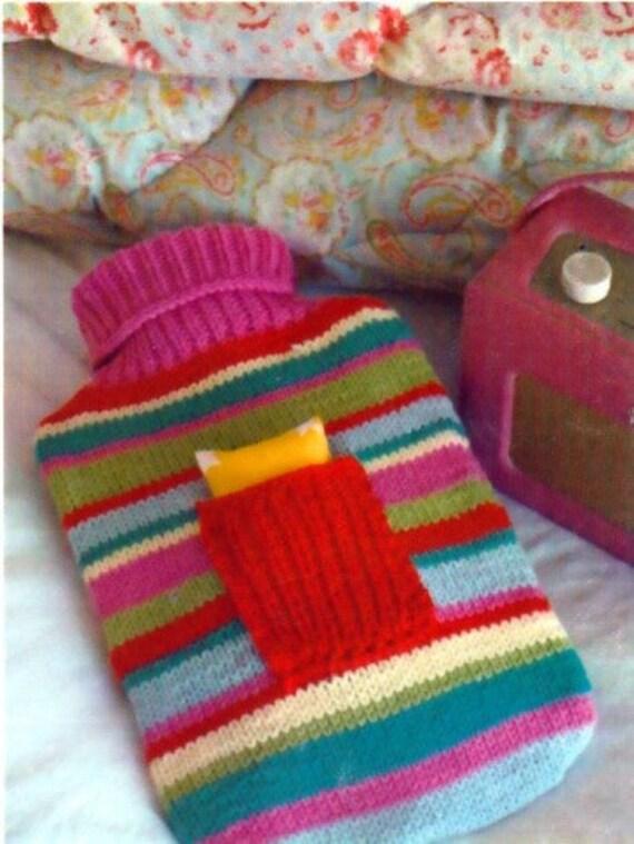 Knitting Pattern for Hot Water Bottle Cover & Lavender Sachet