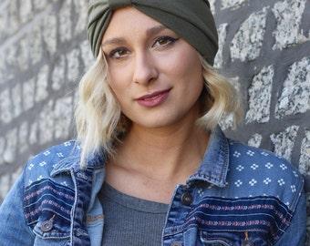 Green Boho Turban Headband, Womens Headband, Hair Accessory, Turban Headband Women, Green Turban, Headband, Womens Hairband