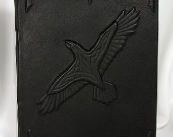 Large blank handmade leatherbound journal Raven